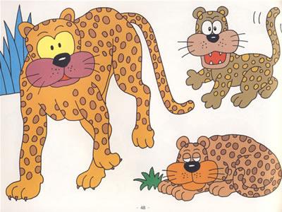 完全动物涂色100-狮子 大象 长颈鹿