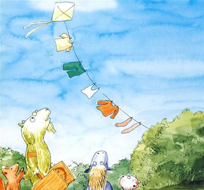 宝宝看图讲故事 放风筝比赛图片